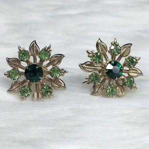 Vintage Green & Gold Flower Screw Back Earrings